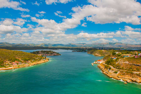 Santiago de Cuba, Cuba: Panoramic view of Santiago de Cuba bay entrance. Beautiful turquoise color of the water. Kho ảnh