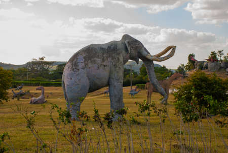 Statues Of Mammoths. Prehistoric animal models, sculptures in the valley Of the national Park in Baconao, Santiago de Cuba, Cuba.
