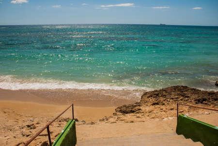 Cienfuegos, Cuba, Rancho Luna Beach: Beautiful view of the beach and the Caribbean sea. Stock Photo