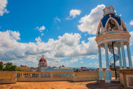 Panorama from the terrace of the Palace on the government building. Cienfuegos, Cuba. Palacio Ferrer, House Of The Culture Benjamin Duarte.