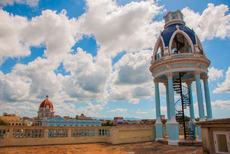 View from the terrace on the building of the Municipality, City Hall, Government Palace. Observation rotunda with stairs on the roof of the Palace. Cienfuegos, Cuba. Palacio Ferrer, House Of The Culture Benjamin Duarte