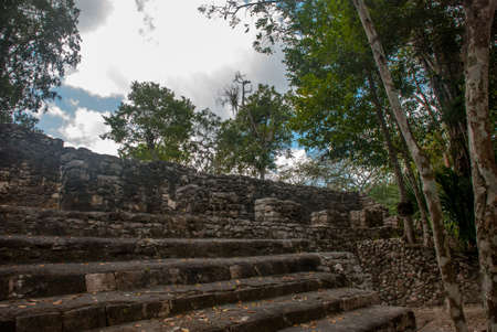 Steps of the pyramid. Ruins of Mayan pyramid at jungles. Coba. Mexico, Yucatan. Coba is an archaeological area and a famous landmark of Yucatan Peninsula. Stockfoto
