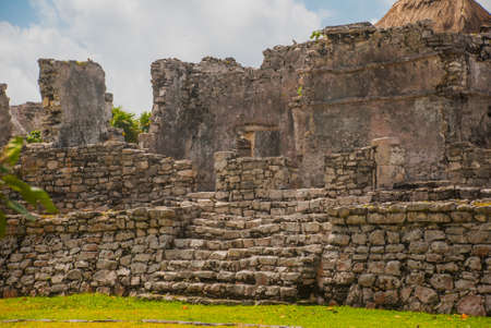 Tulum, Yucatan, Mexico: Archeological ruins built by the Mayas. Ancient city