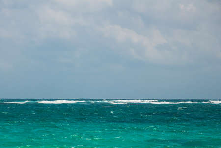 Caribbean sea in cloudy weather. Tulum, Riviera Maya, Yucatan. Beautiful landscape in Mexico.