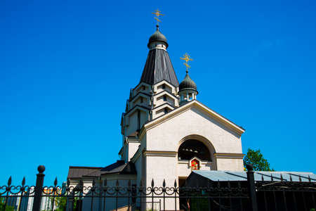 Church of St. George against the blue sky. Located on the Avenue of Glory. St. Petersburg, Russia.