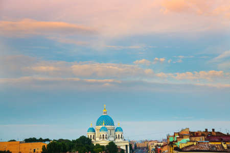 Landscape evening sky and the blue dome of the dome of Trinity Cathedral. Russia, Saint-Petersburg