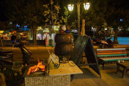 Traditional Turkish hot wine for tourists in the evening. Cappadocia, Anatolia, Turkey