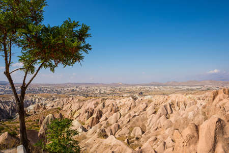 Red valley, Kizilcukur. Travel to Turkey - observation deck on the Aktepe Hill and valley in Nevsehir province in Cappadocia, Anatolia.
