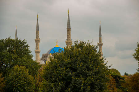 Blue mosque and Sultanahmet park. The biggest mosque in Istanbul of Sultan Ahmed - Ottoman Empire.
