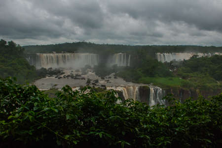 Iguazu falls, one of the new seven wonders of nature.   view from Brazilian side. Brazil, America.