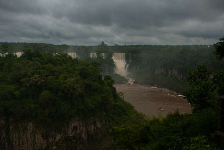 Iguassu Falls, Brazil, America. This is Iguazu Falls. A quarter of a million gallons of water flow through here every second.