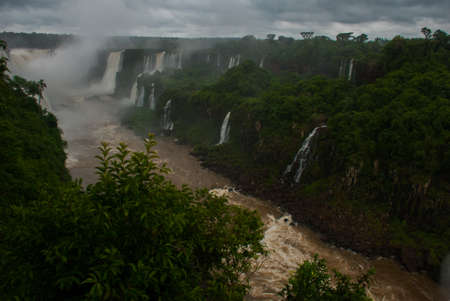 Brazil, America, Iguazu falls. Beautiful famous waterfall. Landscape with a view of the water jet. Seventh wonder of the world. 写真素材