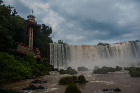 Brazil, America, Iguazu falls. View of the beautiful Brazilian waterfall. Seventh wonder of the world.