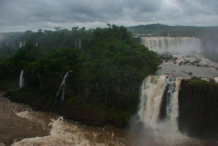 Brazil, America, Iguazu falls. World-famous and popular among tourists waterfall. Seventh wonder of the world.