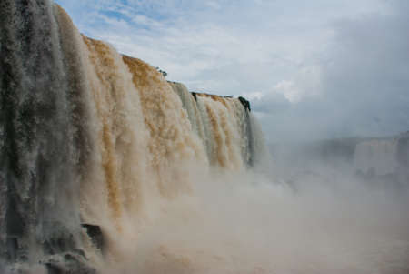 Iguassu Falls, the largest series of waterfalls of the world, located at the Brazilian and Argentinian border, View from Brazilian side. 写真素材
