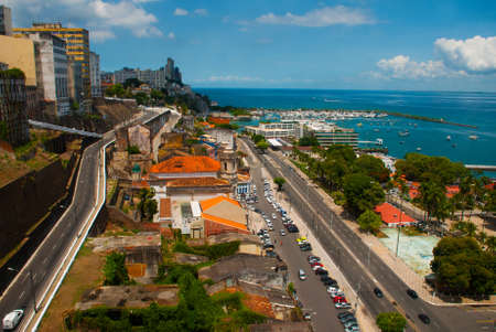 Salvador, Brazil: View of the port from the lift to the lower town Salvador da Bahia. Lacerda Elevator