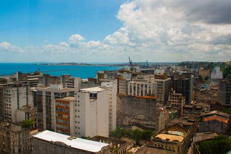 SALVADOR, BRAZIL: Fort of San Marcelo in Salvador Bahia Brazil. Top view of the port city of Salvador da Bahia Banco de Imagens