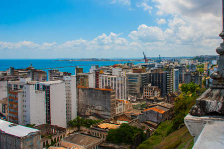 SALVADOR, BRAZIL: Top view of the houses and the port of Salvador. America