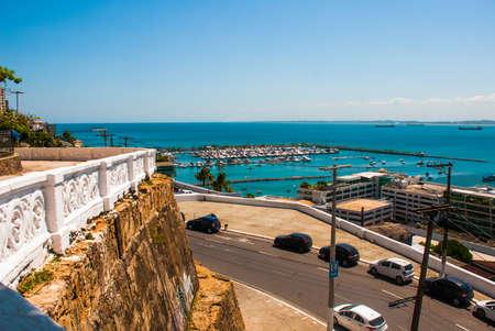 Aerial view of All Saints Bay -Baia de Todos os Santos- in Salvador, Bahia, Brazil. South America Stock Photo