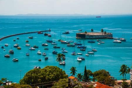 SALVADOR, BAHIA, BRAZIL: Fort of San Marcelo in Salvador Bahia Brazil. Top view of the port city of Salvador, South America.