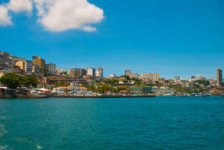 SALVADOR, BAHIA, BRAZIL: Beautiful Landscape with beautiful views of the city from the water. Houses, skyscrapers, ships and sights. South America. Sao Salvador da Bahia de Todos os Santos