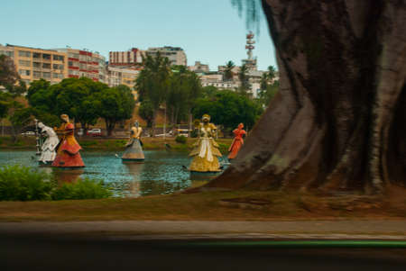 SALVADOR, BAHIA, BRAZIL: orishas fountain in the beautiful city of salvador in bahia state brazil
