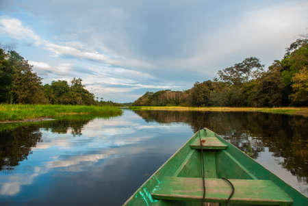 Traditional wooden boat floats on the Amazon river in the jungle. Amazon River Manaus, Amazonas, Brazil. South America