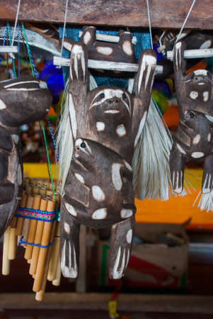 Souvenirs in the Amazon rainforest made from local nuts and animals near Iquitos. Market for tourists on the Amazon river. Manaus, Amazonas, Brazil Фото со стока - 122315758