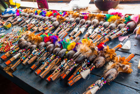 Souvenirs in the Amazon rainforest made from local nuts and animals near Iquitos. Market for tourists on the Amazon river. Manaus, Amazonas, Brazil Stock Photo
