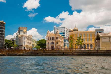 Recife, Pernambuco, Brazil,South America: Panoramic view of Marco Zero Square at Ancient Recife district.