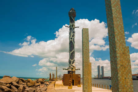 RECIFE, PERNAMBUCO, BRAZIL: Sculpture park. Haborside park on a reef featuring unique works by the famous Brazilian sculptor Francisco Brennand. South America