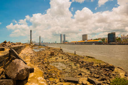 Skyscrapers. The skyline of the historic city of Recife in Pernambuco, Brazil by the Capibaribe river. Recife, Pernambuco, Brazil, South America Imagens