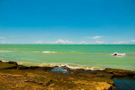 RECIFE, PERNAMBUCO, BRAZIL: Beautiful landscape with views of the rocks and turquoise sea. South America Imagens