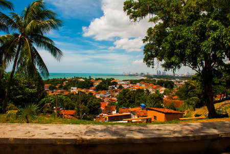 Olinda, Pernambuco, Brazil: A view of Olindas historic center from the top of Alto da Se hill, Recife in the background