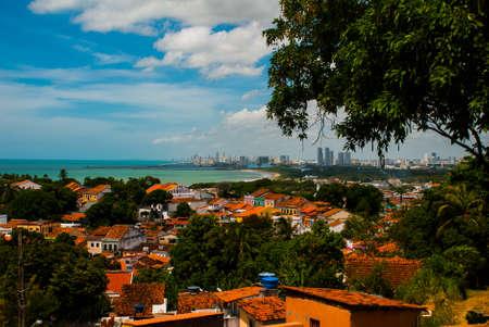 Olinda, Pernambuco, Brazil: A view of Olinda's historic center from the top of Alto da Se hill, Recife in the background Imagens