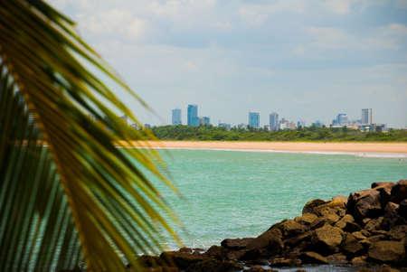 Olinda, Pernambuco, Brazil: Beautiful landscape overlooking the beach in Olinda. Swimming is dangerous here swim sharks. In the distance, Recife city. South America Imagens