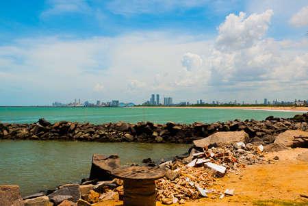 Olinda, Pernambuco, Brazil: Beautiful landscape overlooking the beach in Olinda. Swimming is dangerous here swim sharks. In the distance, Recife city. South America