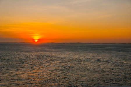 Beautiful landscape with sunset sea view in Salvador, Bahia, Brazil. South America Banco de Imagens