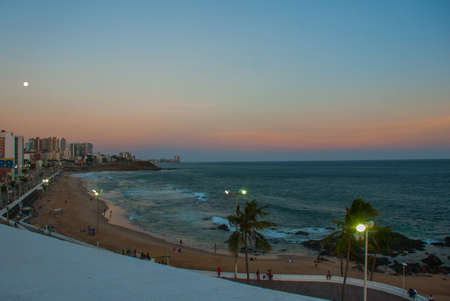 View of Barra beach and famous Farol da Barra in Salvador, Bahia, Brazil. South America Banco de Imagens
