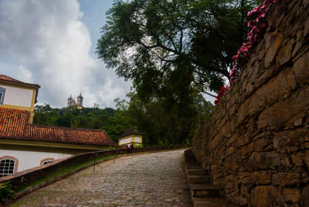 Ouro Preto, Minas Gerais, Brazil: City view of the historic mining city Outro Preto, once part of the Gold Route to Rio de Janeiro during a sunny day