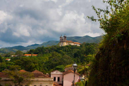 Ouro Preto, Minas Gerais, Brazil: Beautiful landscape with views of colonial architecture houses and Catholic Church in the old town Outro Preto.