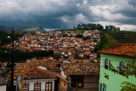 Ouro Preto, Minas Gerais, Brazil: Panoramas of the beautiful landscape overlooking the colonial architecture of the houses and the Catholic Church in the old town Outro Preto. Reklamní fotografie