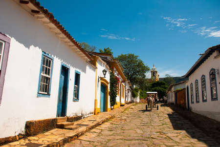 Tiradentes, Brazil: Traditional Historic Town in Minas Gerais State. Beautiful old houses on the street in the city Tiradentes. Reklamní fotografie