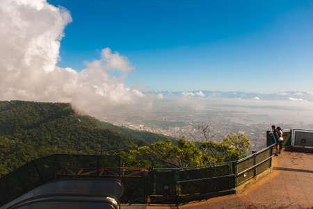 Panorama of Rio de Janeiro seen from Corcovado mountain in Rio de Janeiro, Brazil, America