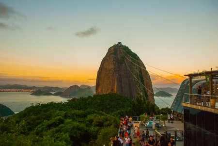 Rio de Janeiro, Brazil, America: Cable car and Sugar Loaf mountain in Rio de Janeiro