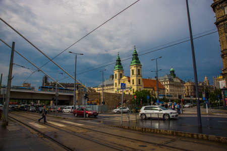 Budapest, Hungary, Europe: Beautiful view of the Catholic Church in the old town. Stock Photo