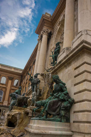 BUDAPEST, HUNGARY: Matthias Fountain is a monumental fountain group in the western forecourt of Buda Castle, Budapest. It is sometimes called the Trevi Fountain of Budapest.