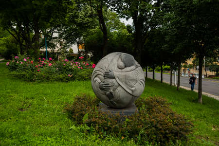 Budapest, Hungary, Europe: Unusual round the monument to the mother and child