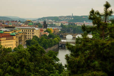 Prague, Czech Republic, Europe: View of the Vltava River and the bridges