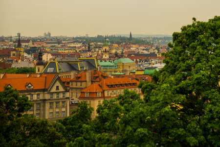 Prague, Czech Republic, Europe: Beautiful panorama, landscape from above on the old town.